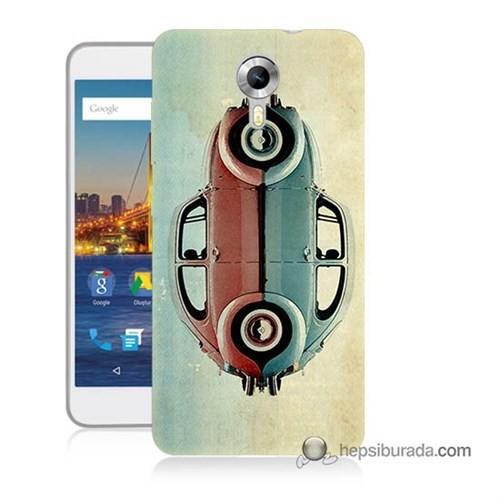 Teknomeg General Mobile 4G Android One Kılıf Kapak Mavi Kırmızı Wolkswagen Baskılı Silikon
