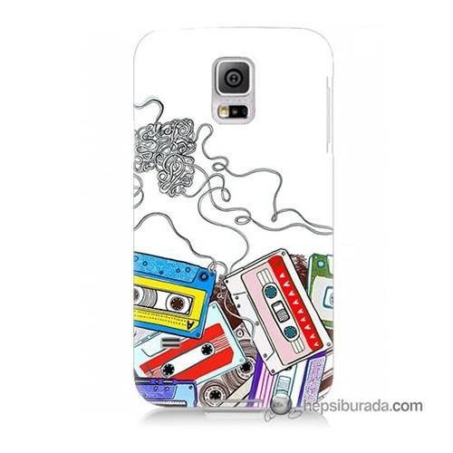 Teknomeg Samsung Galaxy S5 Kapak Kılıf Kasetler Baskılı Silikon