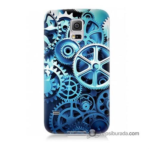 Teknomeg Samsung Galaxy S5 Kapak Kılıf Çarklar Baskılı Silikon
