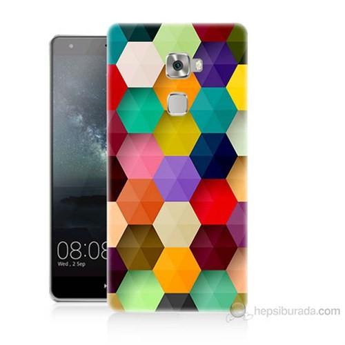 Teknomeg Huawei Ascend Mate S Renkli Petek Baskılı Silikon Kılıf