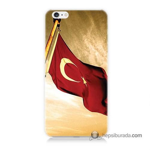 Teknomeg İphone 6S Kılıf Kapak Türk Bayrağı Baskılı Silikon