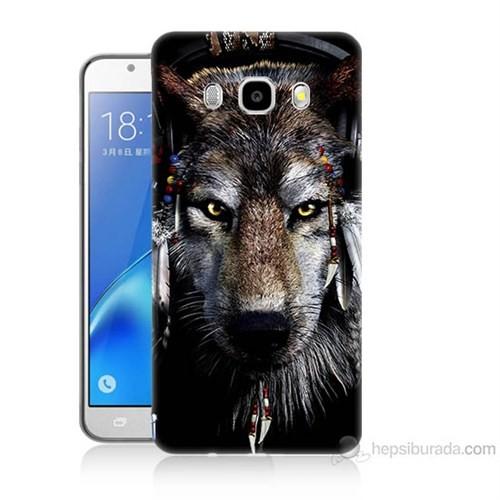 Teknomeg Samsung Galaxy J7 2016 Kapak Kılıf Kızıldereli Kurt Baskılı Silikon