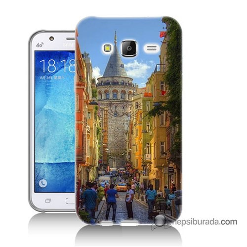 Teknomeg Samsung Galaxy J7 Kapak Kılıf Galata Kulesi Baskılı Silikon