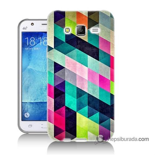 Teknomeg Samsung Galaxy J7 Kılıf Kapak Mozaikler Baskılı Silikon