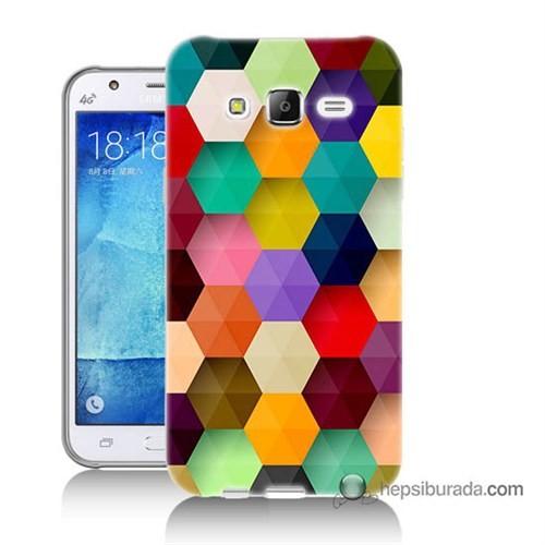 Teknomeg Samsung Galaxy J7 Kapak Kılıf Renkli Petek Baskılı Silikon