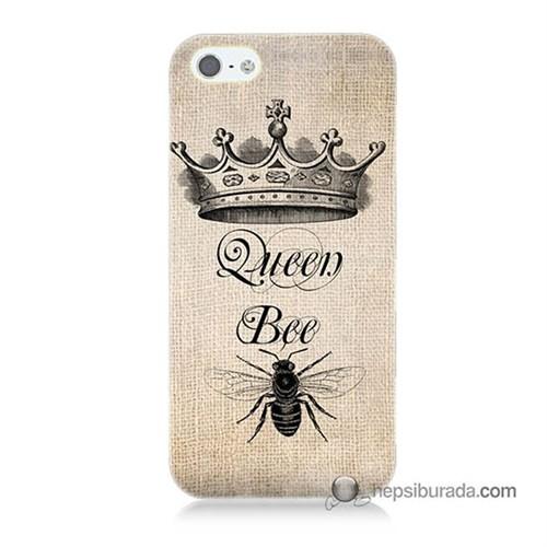 Teknomeg İphone 5S Kılıf Kapak Queen Bee Baskılı Silikon