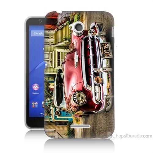 Teknomeg Sony Xperia E4G Klasik Araba Baskılı Silikon Kılıf