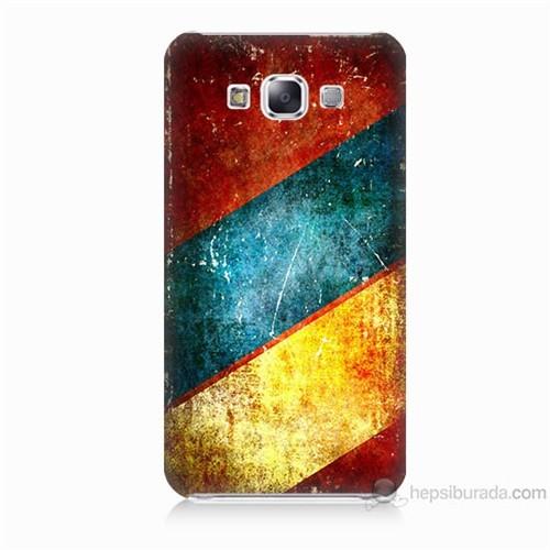 Teknomeg Samsung Galaxy E7 Kapak Kılıf Renkli Metal Baskılı Silikon