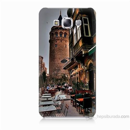 Teknomeg Samsung Galaxy E7 Kapak Kılıf Galata Kulesi Baskılı Silikon