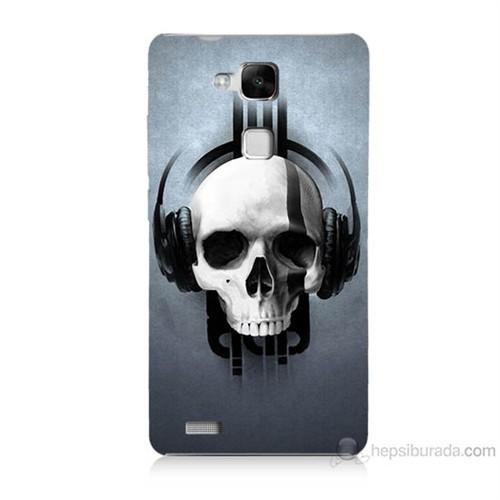Teknomeg Huawei Ascend Mate 7 Müzik Dinleyen Kurukafa Baskılı Silikon Kılıf