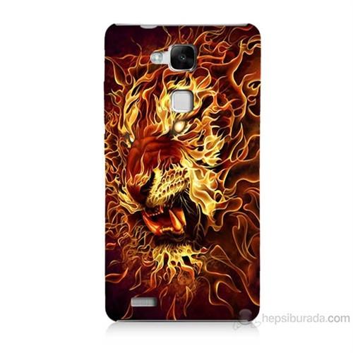 Teknomeg Huawei Ascend Mate 7 Ateşli Aslan Baskılı Silikon Kılıf