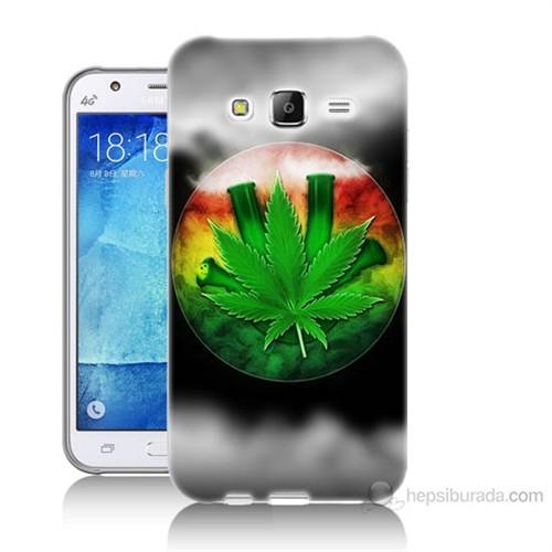 Teknomeg Samsung Galaxy J7 Kapak Kılıf Yaprak Baskılı Silikon