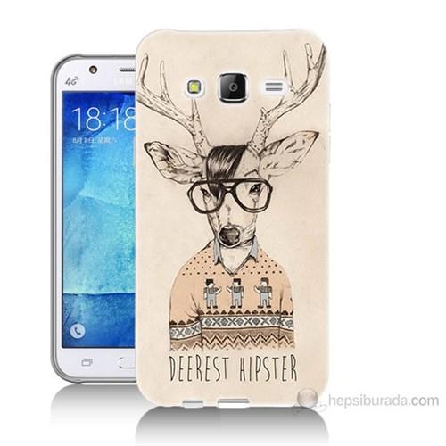 Teknomeg Samsung Galaxy J7 Kapak Kılıf Gözlüklü Geyik Baskılı Silikon
