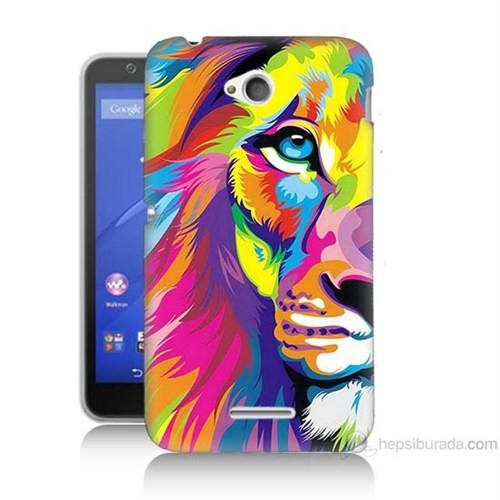 Teknomeg Sony Xperia E4G Renkli Aslan Baskılı Silikon Kılıf