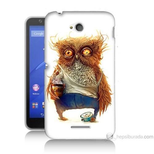 Teknomeg Sony Xperia E4G Miskin Baykuş Baskılı Silikon Kılıf