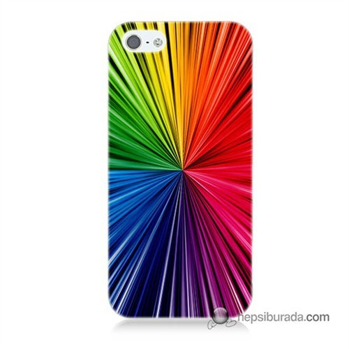 Teknomeg İphone 5S Kapak Kılıf Renkler Baskılı Silikon