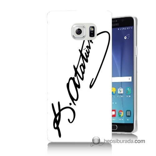 Teknomeg Samsung Galaxy Note 5 Kılıf Kapak Atatürk İmza Baskılı Silikon