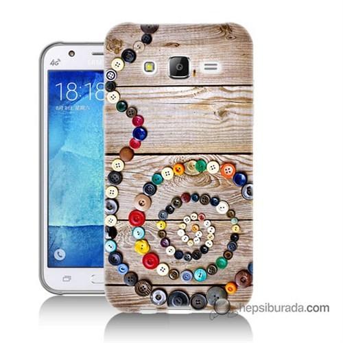 Teknomeg Samsung Galaxy J5 Kapak Kılıf Düğmeler Baskılı Silikon