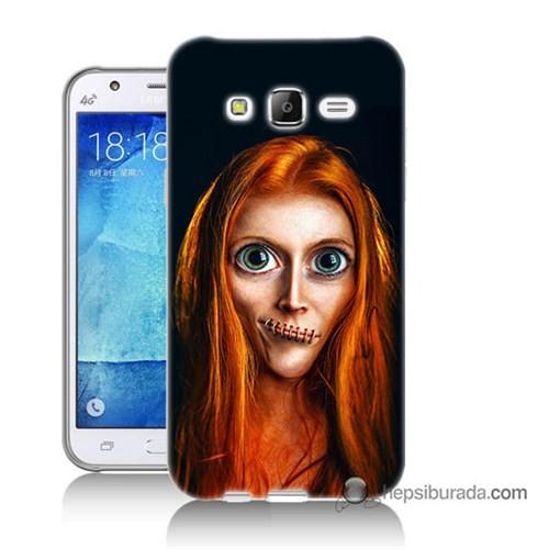 Teknomeg Samsung Galaxy J5 Kılıf Kapak Zombie Kız Baskılı Silikon