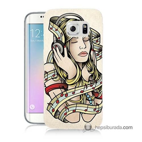 Teknomeg Samsung Galaxy S6 Edge Kapak Kılıf Müzik Aşkı Baskılı Silikon