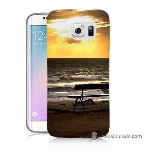 Teknomeg Samsung Galaxy S6 Edge Kılıf Kapak Gün Batımı Baskılı Silikon