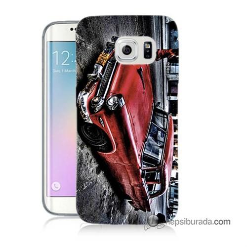 Teknomeg Samsung Galaxy S6 Edge Kılıf Kapak Klasik Araba Baskılı Silikon