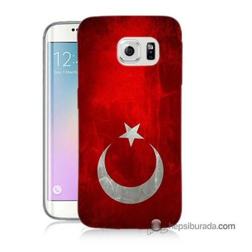 Teknomeg Samsung Galaxy S6 Edge Plus Kılıf Kapak Türkiye Bayrağı Baskılı Silikon
