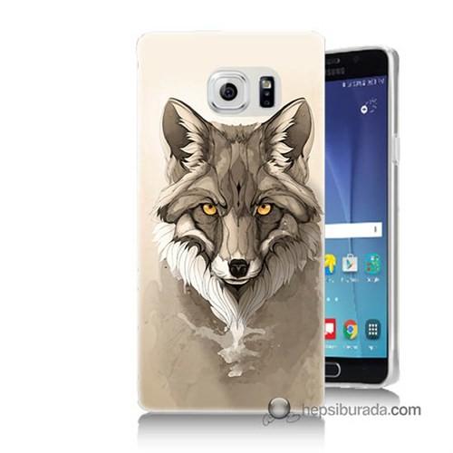Teknomeg Samsung Galaxy Note 5 Kılıf Kapak Kurt Baskılı Silikon