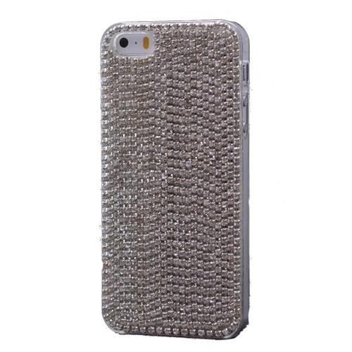 Teleplus İphone 5S Çok Taşlı Kapak Kılıf Gümüş