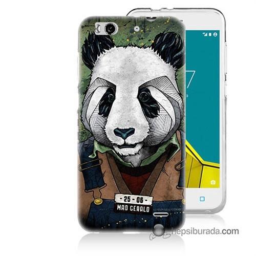 Teknomeg Vodafone Smart 6 Kapak Kılıf İşçi Panda Baskılı Silikon