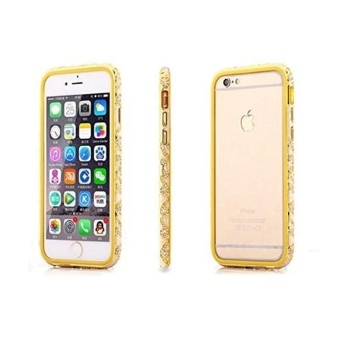 Teleplus İphone 6 Karışık Taşlı Metal Çerçeveli Kılıf Sarı