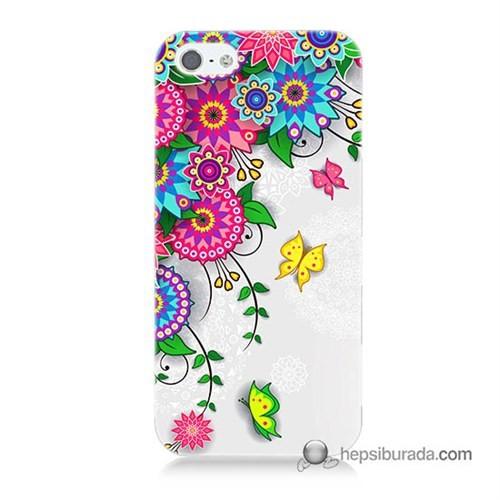 Teknomeg İphone 5S Kapak Kılıf Çiçek Ve Kelebek Baskılı Silikon