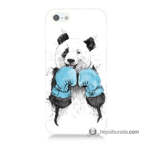 Teknomeg İphone 5 Kılıf Kapak Boksör Panda Baskılı Silikon