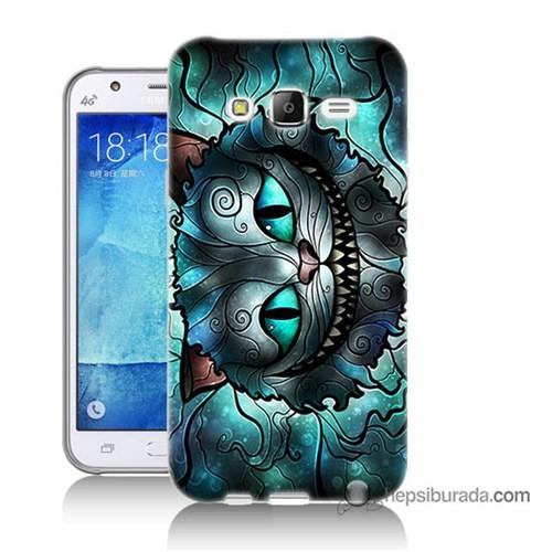 Teknomeg Samsung Galaxy J5 Kapak Kılıf Alice Kedi Baskılı Silikon