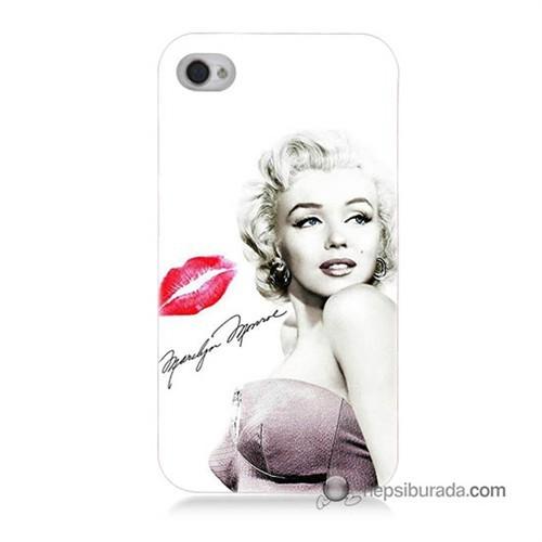 Teknomeg İphone 4S Kapak Kılıf Marilyn Monroe Baskılı Silikon