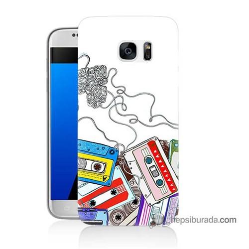 Teknomeg Samsung Galaxy S7 Kapak Kılıf Kasetler Baskılı Silikon