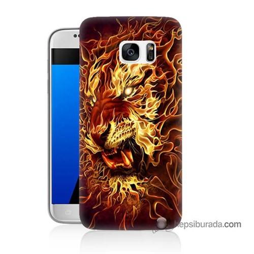 Teknomeg Samsung Galaxy S7 Kılıf Kapak Ateşli Aslan Baskılı Silikon