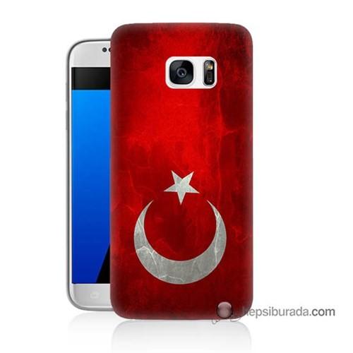 Teknomeg Samsung Galaxy S7 Kılıf Kapak Türkiye Bayrağı Baskılı Silikon