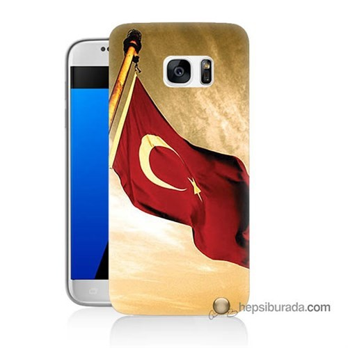 Teknomeg Samsung Galaxy S7 Kılıf Kapak Türk Bayrağı Baskılı Silikon