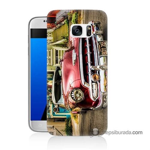 Teknomeg Samsung Galaxy S7 Kapak Kılıf Klasik Araba Baskılı Silikon