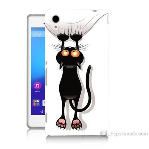 Teknomeg Sony Xperia M4 Aqua Kara Kedi Baskılı Silikon Kılıf
