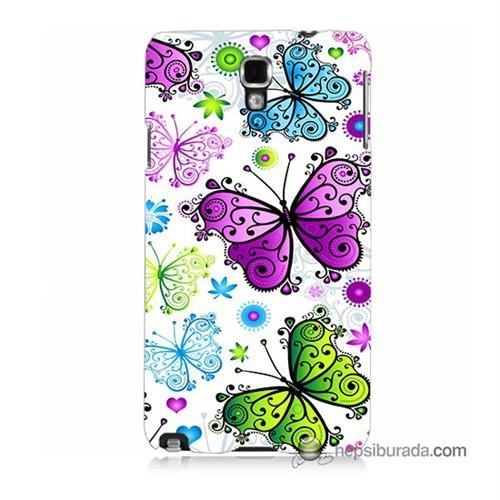 Teknomeg Samsung Galaxy Note 3 Neo Kapak Kılıf Renkli Kelebekler Baskılı Silikon