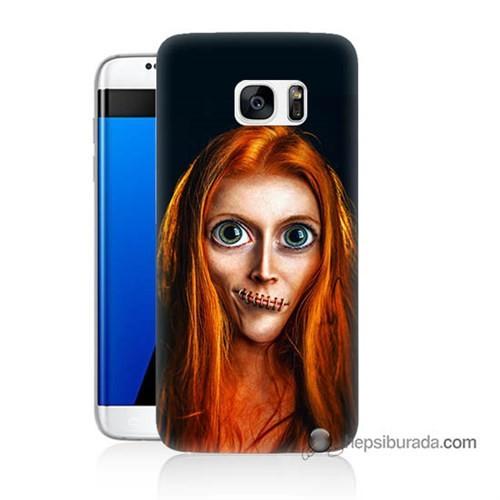 Teknomeg Samsung Galaxy S7 Edge Kılıf Kapak Zombie Kız Baskılı Silikon