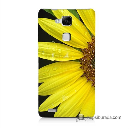 Teknomeg Huawei Mate 7 Kapak Kılıf Sarı Çiçek Baskılı Silikon
