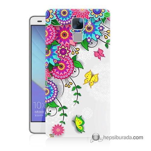 Teknomeg Huawei Honor 7 Kapak Kılıf Çiçek Ve Kelebek Baskılı Silikon