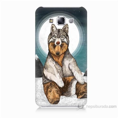 Teknomeg Samsung Galaxy E7 Postlu Ayı Baskılı Silikon Kılıf