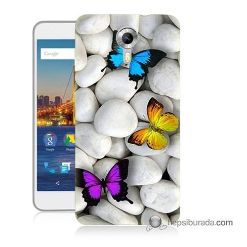 Teknomeg General Mobile 4G Android One Kılıf Kapak Kelebekler Baskılı Silikon
