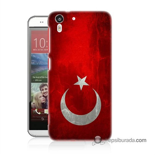 Teknomeg Htc Desire Eye Kılıf Kapak Türkiye Bayrağı Baskılı Silikon