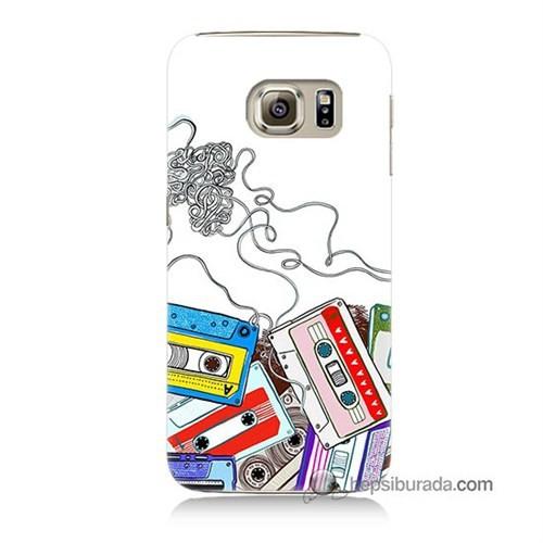 Teknomeg Samsung Galaxy S6 Kapak Kılıf Kasetler Baskılı Silikon