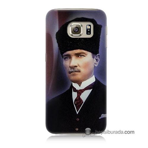 Teknomeg Samsung Galaxy S6 Kılıf Kapak Mustafa Kemal Atatürk Baskılı Silikon